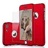 Funda iPhone 5 5s SE 360 Grados Integral Para Ambas Caras + Protector de Pantalla de Vidrio Templado,[ 360 ° ] [ Rojo ] Case / Cover / Carcasa iPhone 5 5s SE (2017)