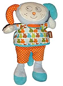 Doudou peluche CHIEN LAPIN Ding Dong Happyness - Babysun - Grelot - H 25 cm