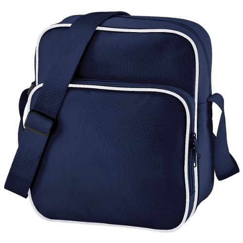 BagBase Sac BG26 jour rétro Bleu marine/blanc