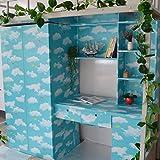 Studenten-Schlafsaal-Schreibtisch-Aufkleber-wasserdichte Schlafsaal-Tapete selbstklebende Wand-Pasten-Schlafsaal-dekorative Hintergrund-Wand-Verdickung, 0.53 * 10M, hellblauer Himmel und weiße Wolke, Oversize
