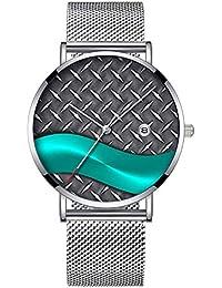 b01fb4d6c73d Reloj de Pulsera Minimalista de Cuarzo con Fecha y Banda de Malla de Color  Plateado