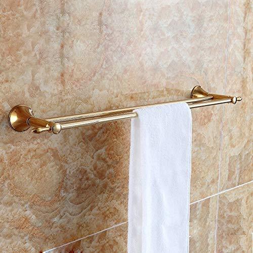 JYF-CLEAN Doppelhandtuchhalter Bad Dusche Organisation Bad Dual Handtuchhalter Gebürstet, 60CM (23,62 Zoll), Gold (Farbe : -) (Bad-dusche-organisation)