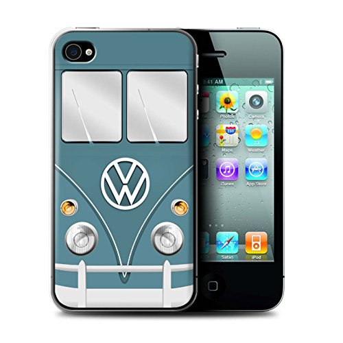 Stuff4 Hülle / Case für Apple iPhone 4/4S / Fjord Blau Muster / Retro T1 Wohnmobil Bus Kollektion Blau Taube