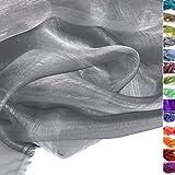 TOLKO® Meterware | ORGANZA Deko-Stoff Transparent mit FARBWECHSEL zum Nähen - Dezent Glänzend und Hauch Zart (Antik-Silber)