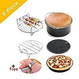 5pcs Airfryer di con rivestimento antiaderente friggitrice ad aria calda gowise antiaderente di botte/teglia per pizza + Tappetino in silicone + Acciaio Inox Titolare/doppio Strato di rack 3.2qt Up