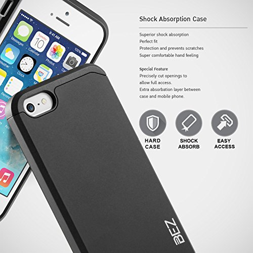 iPhone 5S Hülle, iPhone SE Hülle, BEZ® Stoßfestes Etui, [Heavy Duty Serie] Outdoor Dual Layer Armor Case Handy Schutzhülle [Shockproof] robuste Hülle für iPhone SE und iPhone 5 5S - Schwarz Schwarz