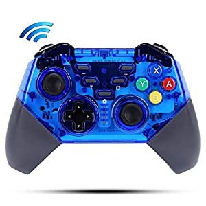 Maegoo Controller für Nintendo Switch, Kabelloser Bluetooth Switch Game Pro Controller Wireless Gamepad Joysticks, Built-in DualShock und Turbo Funktionen 6-Achsen Gyroskop für Nintendo Switch (Blau)