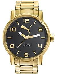 Puma Alternative Round - Reloj análogico de cuarzo con correa de acero inoxidable para hombre, color oro/negro