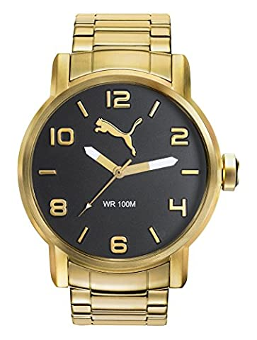 PUMA Alternative Round Men's Quartz Watch with Black Dial Analogue Display and Gold Stainless Steel Strap PU104141009