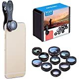 TDC 10 In 1 Cell Phone Camera Lens Kit Universal Phone Camera Lens Kit Wide Angle 0.36 Micro 15X Phone Camera
