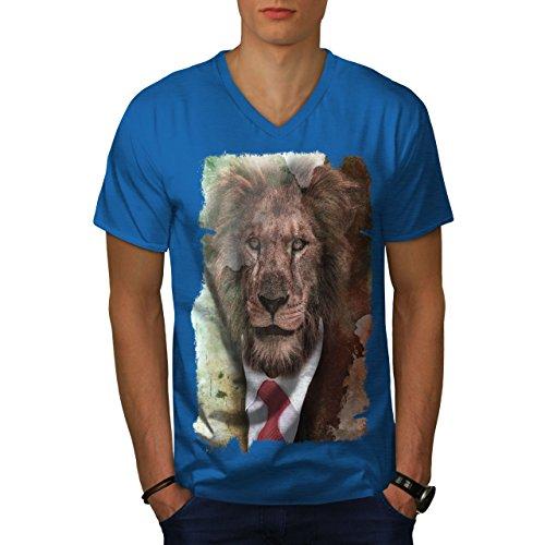 Für Katze Lustige Den Menschen Kostüm - wellcoda Herr Löwe Gesicht Wild Tier MännerV-Ausschnitt T-Shirt Mensch Grafikdesign-T-Stück