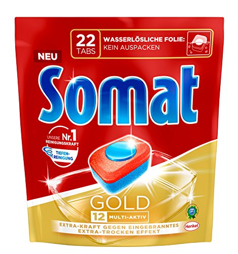 Somat 12 Gold: 1er Pack mit 22 Spülmaschinen-Tabs mit höchster Reinigungskraft, 12 Vorteile wie Extra-Wirkung gegen Eingebranntes und Extra-Trocken-Effekt, phosphatfrei