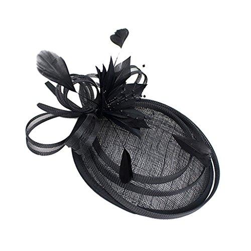 Sharplace Fascinator Fleur Plume Mini Chapeau de Côté Cheveux Couvre-chef Vintage - Noir