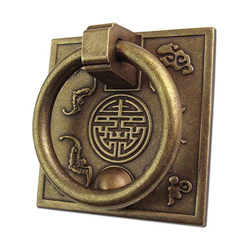 Yangxuelian-Home Türschnalle Packung Mit 2 stücke Antike Bronze Drop Ring Türgriffe Messinggriffe Traditionellen Chinesischen Stil for Holzmöbel Schublade Tür Schraube Montiert Schubladengriff -