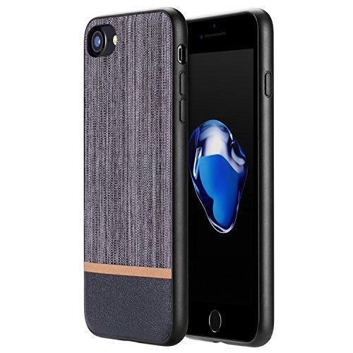 RANVOO [CANVAS] iPhone 7 Hülle, Premium Case aus Polyester Segeltuch & Echtes Leder für iPhone 7, Grau (Leder Polyester Liege)