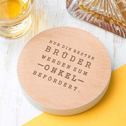 Getränke Untersetzer aus Holz in Grau - Du wirst Onkel - Onkel 2019 - Baby-Ankündigung - Geschenke für Onkel