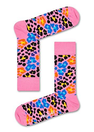 Happy Socks Damen Multi Leopard Socken, Pink, 4/7/2018 (Herstellergröße: 36-40)