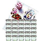 25er Set Sturzglas 125 ml Marmeladenglas Einmachglas Einweckglas To 66 silberner Deckel incl. Diamant-Zucker Gelierzauber Rezeptheft