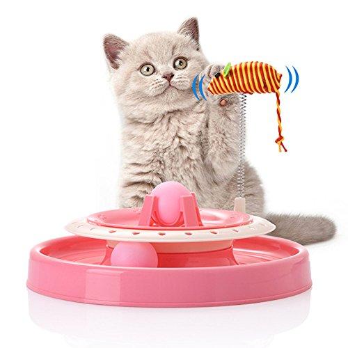 Die Band Pfanne (yudote Fun Katzen Spielzeug–Scratch Pfanne Tower Bälle Chase Track–Interaktives Spielen und Kratzbaum mit Katzenminze gefüllt Maus Kitten Spielzeug)