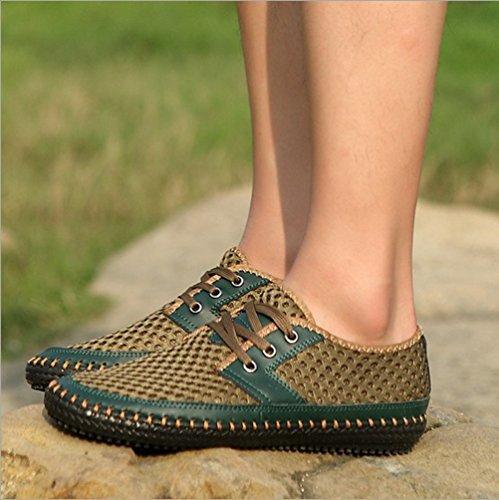 YiLianDa Herren Leder Slipper Halbschuhe Freizeit Loafers Schuhe Grün
