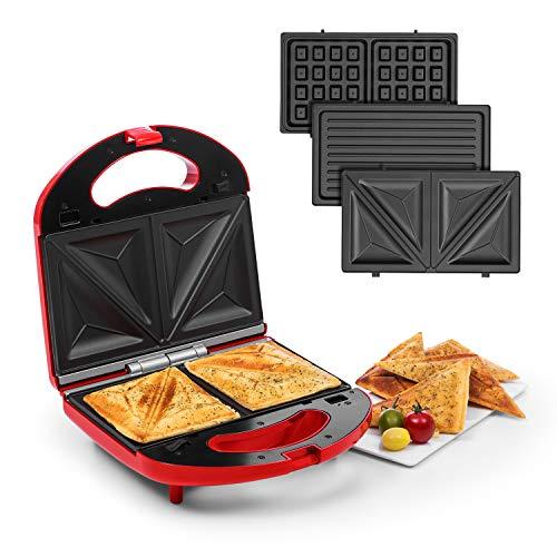 Klarstein Trilit 3-in-1 Sandwich Maker Panini Maker Kontaktgrill Waffeleisen, 750 Watt, 3 austauschbare Aluminium-Grillplatten, Anti-Haft-Beschichtung, rutschfest, Kunststoff-Gehäuse, rot