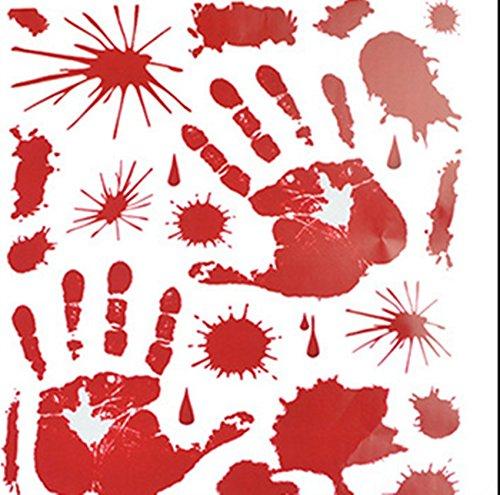 outflower Adesivo da parete pasta di vetro Halloween terrore mano di sangue finestra soggiorno camera decorazione  43* 40cm
