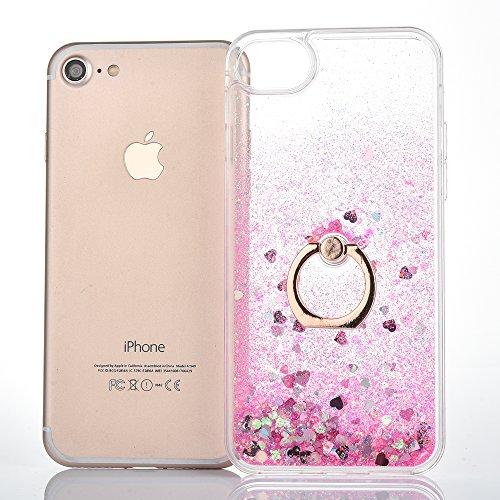 iPhone 7 Hülle,Mo-Beauty® Transparent Kreativ Design 3D Hard Case Liquid Bling Dynamisch Treibsand Flüssige Fließend Wasser Glitter Glitzer Glanz Sparkle Klar Hart Plastik Tasche Kristall Handytasche  Rosa