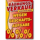 Plakat - Räumungsverkauf wegen Geschäftsaufgabe DIN A0 - 84,1 x 119,7 cm