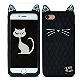 TISHAA Lovely Bling Super Cute Kitten Cat W Diamant Haar Strass Ohren Soft Silikon Gummi Schutzhülle für Apple iPhone 7 (2016) und iPhone 8, Schwarz
