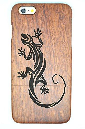 iPhone 6s Plus Hülle (5,5 Zoll), Holzsammlung® Holz Tasche für iPhone 6s Plus (Nussbaum Halb große Blume) - Holzsammlung® Handgefertigt Hölzernen Fall und Abdeckung für Ihr Smartphone und Tablet PC Roseholz Lizard
