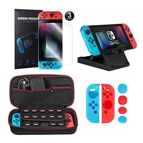 Younik 10 in 1 Nintendo Switch Zubehör , inkusive Nintendo Switch tragbare Tasche / Joy-Con Gel Schutzhülle / Switch Ständer / Switch Displayschutzfolie (3 Mal)