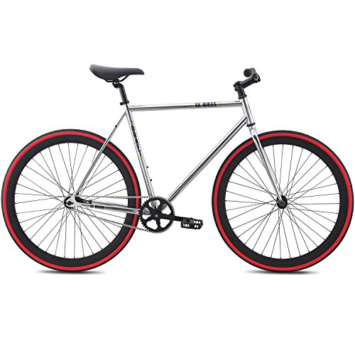 700c Se Bikes Draft Fixie Singlespeed Fixed Gear Bike für Damen ca 155 - 175 cm, Farbe:silber, Rahmengrösse:49 cm