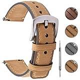 Fullmosa 3 Couleurs Bracelet de Montre 18mm / 20mm / 22mm en Cuir, YOLA Bracelet Montre à...