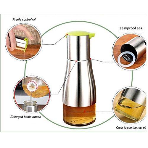 miglior prezzo Bottiglia dell'olio di vetro dell'acciaio inossidabile, Tianer Colourful dell'olio di oliva dispenser della salsa di prova impermeabile Cruet contenitore dell'olio commestibile con il puntale di versamento preciso, 11 OZ / 320ML (Verde)
