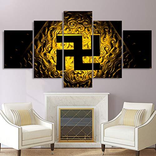 WJFWLH 5 Paneles Símbolo Budista Pintura Arte De La Pared Modular Poster Frame Moderno HD Impresión Imagen Decoración del Hogar Lienzo Salón