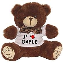 Ourson peluche avec un T-shirt: J'aime Bayle (Noms/Prénoms)