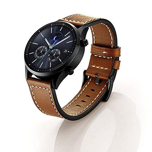 SUNDAREE Galaxy Watch 46MM Armband/Gear S3 Classic/Frontier Armband,22MM Echt Leder Ersatz Armband Strap Uhrenarmband für Samsung Galaxy Watch 46MM/Samsung Gear S3 Frontier/Classic(S3 Braun Leder)