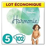 Pampers - Harmonie - Couches Taille 5 (11-16kg) Hypoallergénique - Lot economique (102 couches)