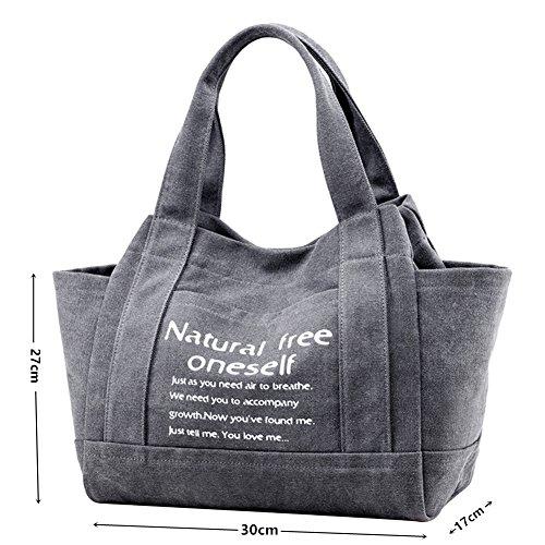 PB-SOAR Fashion Damen Vintage Canvas Henkeltasche Schultertasche Handtasche Shopper Beuteltasche 30x27x17cm (B x H x T) (Grau) Grau