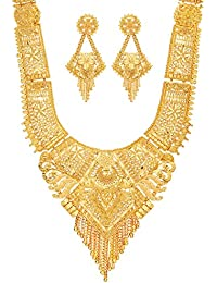 Mansiyaorange Party Collection Rani Haar/Juelry/jwelery/Long Necklace/Jewellery Neckalce Sets for Women (One Gram Golden 9 Inch Long)