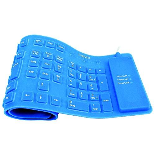 LogiLink Tastatur Flexibel Wasserfest USB mit PS/2 blau