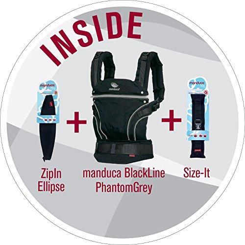 manduca Babytrage BlackLine Premium Bundle > Phantom Grey < Optimierte 3P-Sicherheitsschnalle, Von Geburt an Paket incl. SizeIt (Stegverkleinerer) & ZipIn Ellipse (für Neugeborene), schwarz - grau