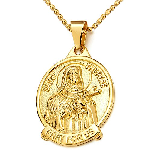 colore-oro-santa-teresa-prego-per-te-miracolosa-medaglia-collana-con-pendente-da-uomo-donna-acciaio-