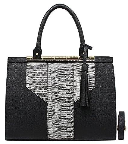 CRAZYCHIC - Women Top-handle Fashion bag with Python Croco design pompom and gold plate - Tote handbag with snake crocodile print - Lady city bag - Imitation Saffiano leather - Elegant -
