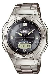 Casio - WVA-470TDE-1AVEF - Montre Radio Piloté - Titane - Quartz Analogique et Digitale - Multifonctions - Chronographe - Fuseaux Horaires - 3 Alarmes - Solar - Bracelet Titane