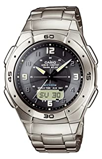 Casio WVA-470TDE-1AVEF Analog and Digital Quartz Multifunction Watch, Titanium, Chronograph, Time Zones, 3 Alarms, Solar, Titanium Bracelet (B001D03EUE) | Amazon price tracker / tracking, Amazon price history charts, Amazon price watches, Amazon price drop alerts