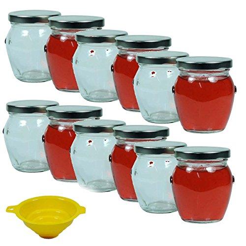 12 x Einmachglas 212 ml , Marmeladenglas mit silberfarbenem Schraubverschluss inkl. Einfülltrichter