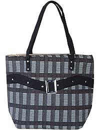 Womaniya Unisex Jute and Cotton Handbag (Black)
