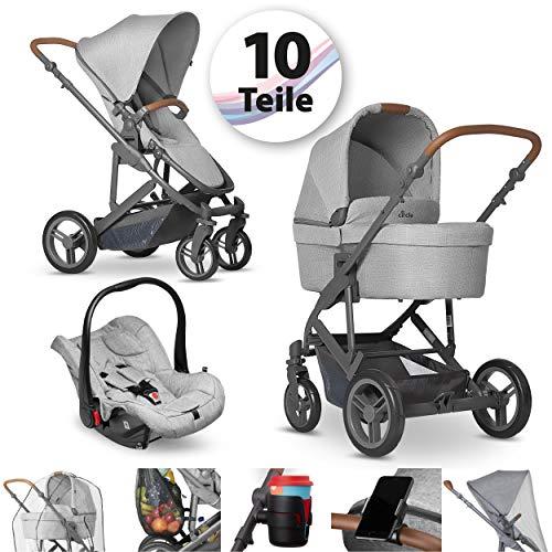 Circle Kombi Kinderwagen Set - Catania 4 - Megaset 10 teilig mit Babywanne, Sportwagen mit Liegefunktion, Babyschale und Zubehör - Woven Grey