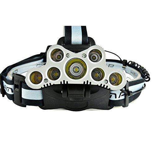 zantec Scheinwerfer CREE T6+ Cree XPE starkes Licht Scheinwerfer mit SOS help-calling Whistle USB wiederaufladbar für Outdoor Aktivität Jagd Angeln höhlenerkundung 7 LED gray (Halo-scheinwerfer Nissan)